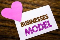 Konceptualny ręki writing teksta seansu biznesów model Pojęcie dla projekta Dla biznesu pisać na kleistym nutowym papierze, drewn Zdjęcia Stock