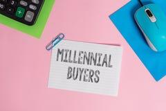 Konceptualny r?ki writing pokazuje Millennial nabywcy Biznesowa fotografia pokazuje typ konsumenci kt?re s? zainteresowani wewn?t obraz stock