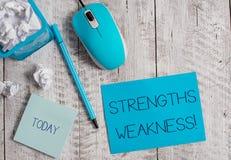 Konceptualny r?ki writing pokazuje Strengths s?abo?? Biznesowa fotografia pokazuje sposobno?ci i zagro?enia analizy pozytyw obraz royalty free