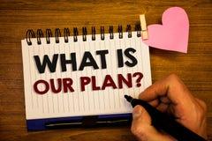 Konceptualny ręki writing seans Co Jest Nasz planu pytaniem Biznesowy fotografia teksta misi Purpose agendy Strategize Brainstorm Zdjęcia Royalty Free