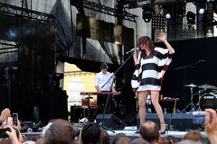Koncert populal francuska projekt nowela Vaguesinger na Francofolies festiwalu w Blagoevgrad, Bułgaria 18 06 2016 Obraz Royalty Free