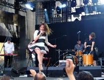 Koncert populal francuska projekt nowela Vaguesinger na Francofolies festiwalu w Blagoevgrad, Bułgaria 18 06 2016 Obraz Stock