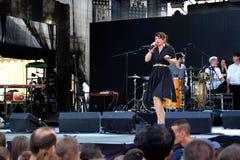 Koncert populal francuska projekt nowela Vaguesinger na Francofolies festiwalu w Blagoevgrad, Bułgaria 18 06 2016 Fotografia Royalty Free