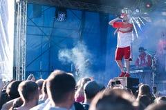 Koncert Ukraiński rap artysta Yarmak Maj 27, 2018 przy festiwalem w Cherkassy, Ukraina Obrazy Stock