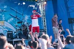 Koncert Ukraiński rap artysta Yarmak Maj 27, 2018 przy festiwalem w Cherkassy, Ukraina Zdjęcia Royalty Free