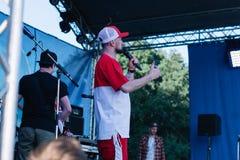 Koncert Ukraiński rap artysta Yarmak Maj 27, 2018 przy festiwalem w Cherkassy, Ukraina Zdjęcia Stock