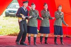Koncert wojenne piosenki w Kaluga regionie w Rosja Obrazy Stock