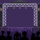 Koncertowej sceny sceny wektorowa muzyczna scena i noc koncert bawimy się Potomstwa strzelają grupowych zabawy strefy sylwetki ko Obrazy Stock