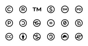 Koncesji i prawa autorskiego znak ustawia z znakiem firmowym, kreatywnie błoniami, własnością publiczną i innymi ikonami, ilustracji