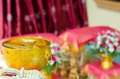 Konchy skorupa w pucharze dla tajlandzkiego ślubu zdjęcie royalty free