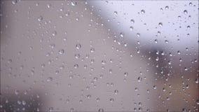 Kondensation på en fönsterruta arkivfilmer