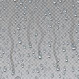 Kondensation regndroppe på genomskinlig yttersida Droppe av vattenvektoruppsättningen Bevattna tappar royaltyfri illustrationer