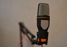 Kondensatorowy mikrofon na ręka właścicielu Zdjęcia Stock