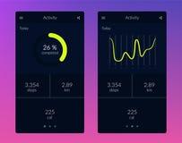Kondition app Design för UI UX stock illustrationer