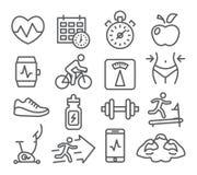 Kondition- och idrottshalllinje symboler royaltyfri illustrationer