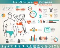 Kondition- och wellnessinfographcs, aktiva folksymboler Royaltyfria Bilder
