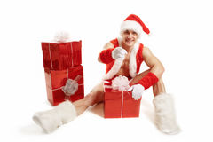 Kondition Santa Claus som pekar hennes finger Arkivfoton