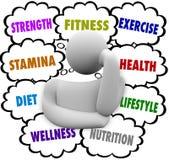 Kondition uttrycker det Person Thinking Exercise Diet Wellness planet Royaltyfria Foton