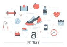 Konditionbanerbegrepp Idé av utbildning i idrottshallen vektor illustrationer