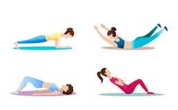 Konditionbegreppsillustration av kvinnan Kondition- och yogaflickasymboler som isoleras på vit bakgrund Plan design stock illustrationer