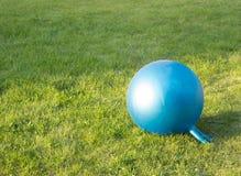 Konditionbollen lägger på ett gräs Arkivfoto
