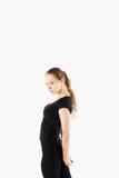 Konditionflicka, ung kvinna för full längdståendesport arkivfoton