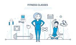 Konditiongrupper, sund livsstil, aktiv sport och yoga som förstärker kroppen stock illustrationer