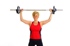konditionhälsa weights kvinnan Royaltyfria Bilder