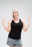 Konditionkvinna för blont hår Arkivfoton
