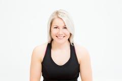 Konditionkvinna för blont hår Arkivbild