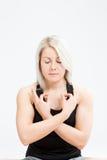 Konditionkvinna för blont hår Fotografering för Bildbyråer