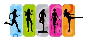 konditionsilhouettes Royaltyfri Fotografi