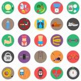 Konditionsport och vård- färgrik plan design Arkivfoto