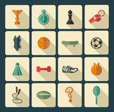 konditionsymboler sju silhouettessportar Royaltyfria Bilder