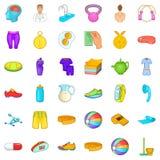 Konditionutrustningsymboler uppsättning, tecknad filmstil Royaltyfri Fotografi