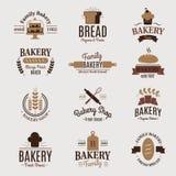 Konditor för beståndsdelen för designen för etiketten för vektorn för vete för stil för mode för bageriemblemsymbolen sötsak-shop Royaltyfri Bild