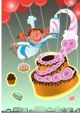 Konditor Illustration av sötsaken bakade vektorn isolerade kakor ställde in Jordgubbekaka för ferie Royaltyfria Foton