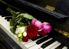 Kondolencje karta - kwiaty na pianinie Obrazy Royalty Free