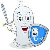 Kondom-Charakter mit Klinge u. Schild Stockfotos