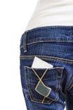 Kondom w tylnej kieszeni niebiescy dżinsy Fotografia Royalty Free