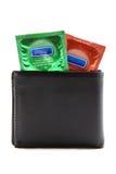 kondoma czarny portfel Fotografia Stock