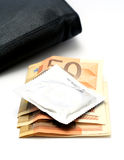 kondoma pieniądze Zdjęcia Stock