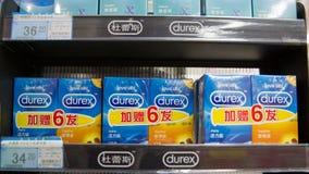 Kondomar på lagringen racks till salu Royaltyfria Foton