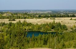Lake. Konduki, Tula region, Russia. Mountains and lakes. Forest and fields stock photography