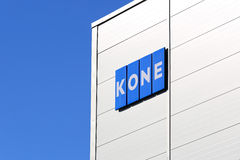 KONE Building with Signage and Blue Sky. HYVINKAA, FINLAND - SEPTEMBER 26, 2015: KONE Signage at KONE People Flow Center in Hyvinkää. The business magazine stock photo