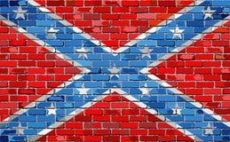 Konfederacyjna flaga na ściana z cegieł Fotografia Stock