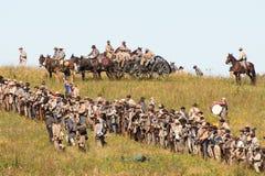 Konfederacyjni żołnierze przygotowywający dla bitwy zdjęcia stock
