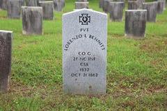 Konfederacyjny Pvt Lorenzo L Bennitt grób, Winchester, Virginia zdjęcia stock