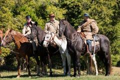 Konfederatów oficery na horseback fotografia stock