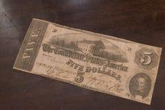 Konfederat 5 Dolarowy Bill obrazy stock